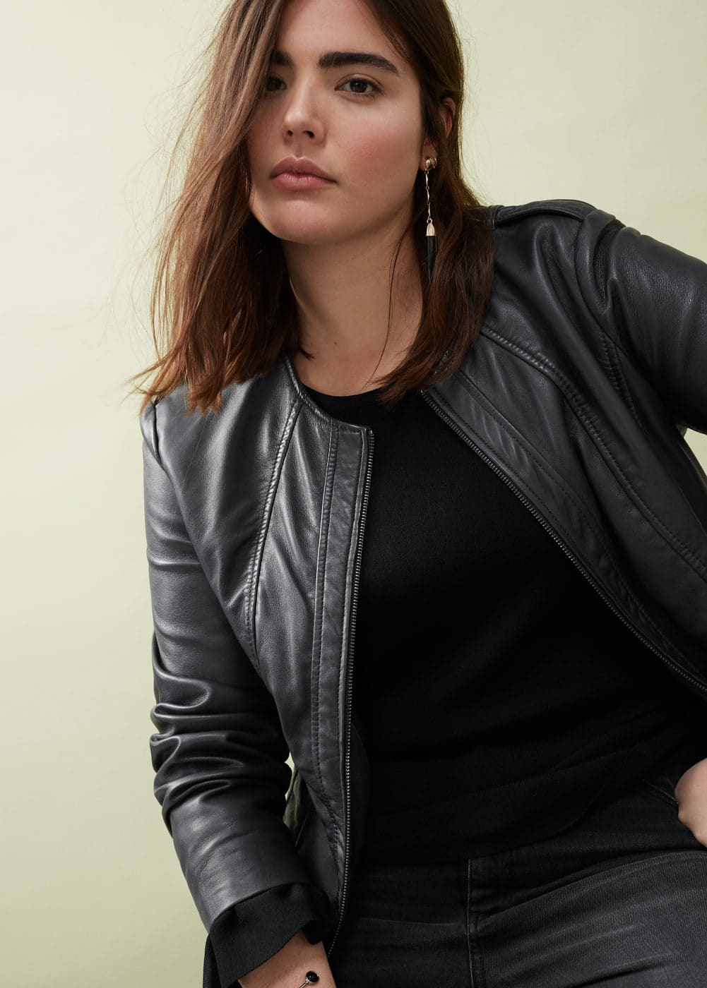 Stitched biker leather jacket | MANGO