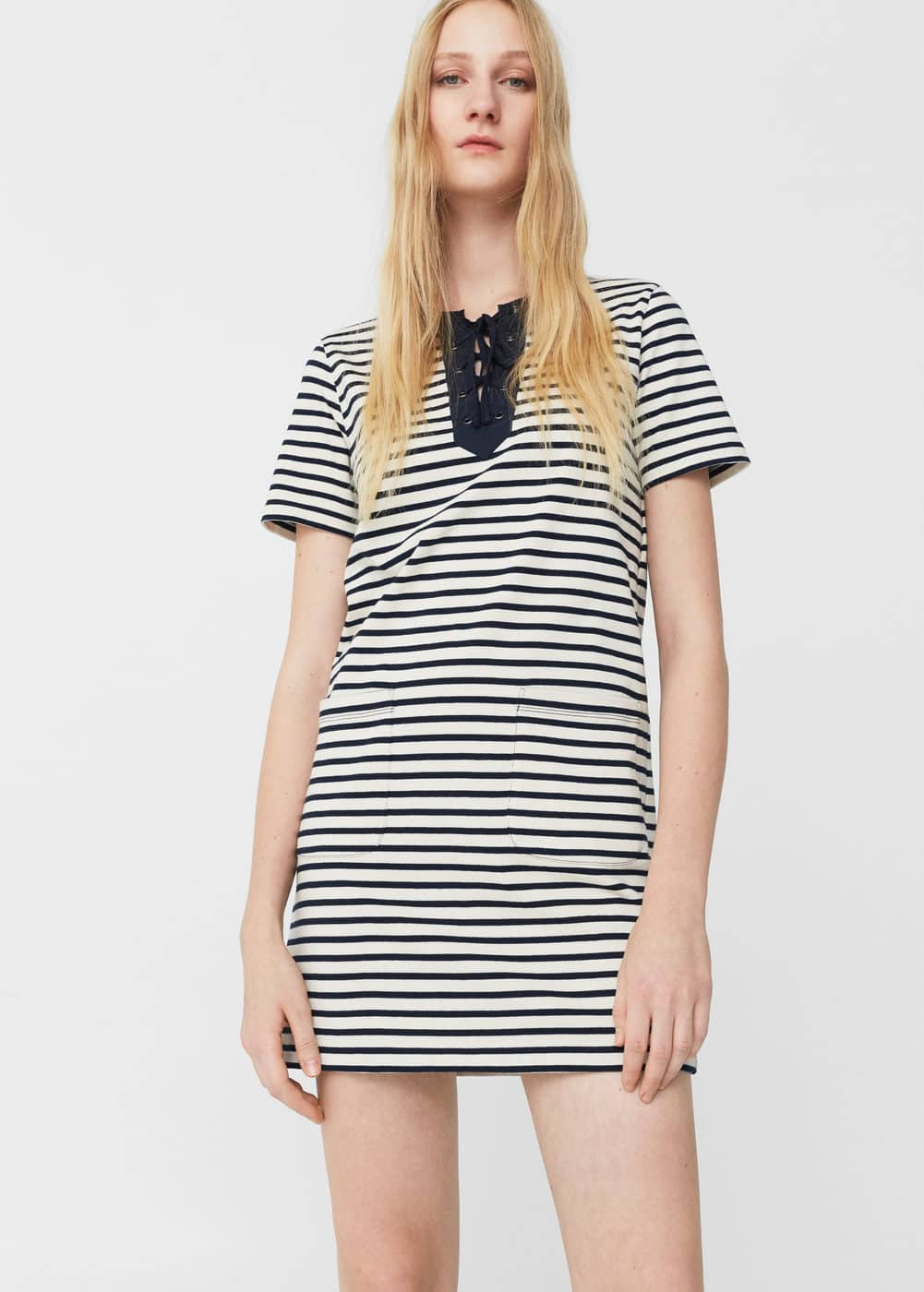 Cord striped dress | MANGO
