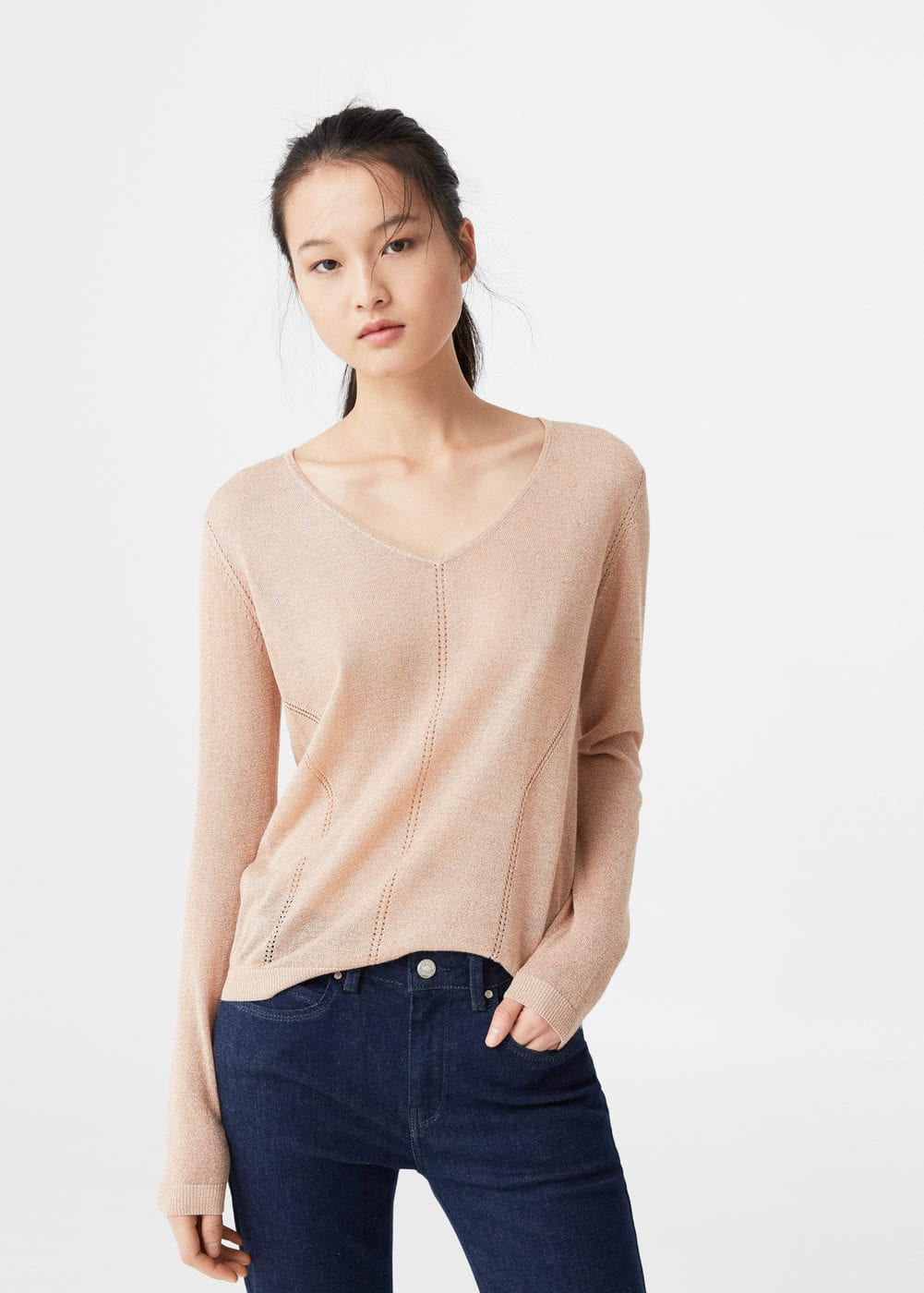 Metallic sweater | MANGO
