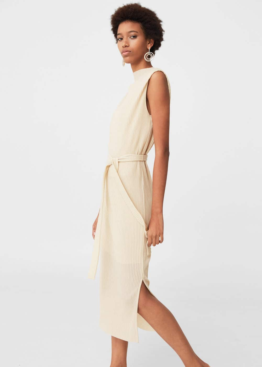 Belt pleated dress | MANGO