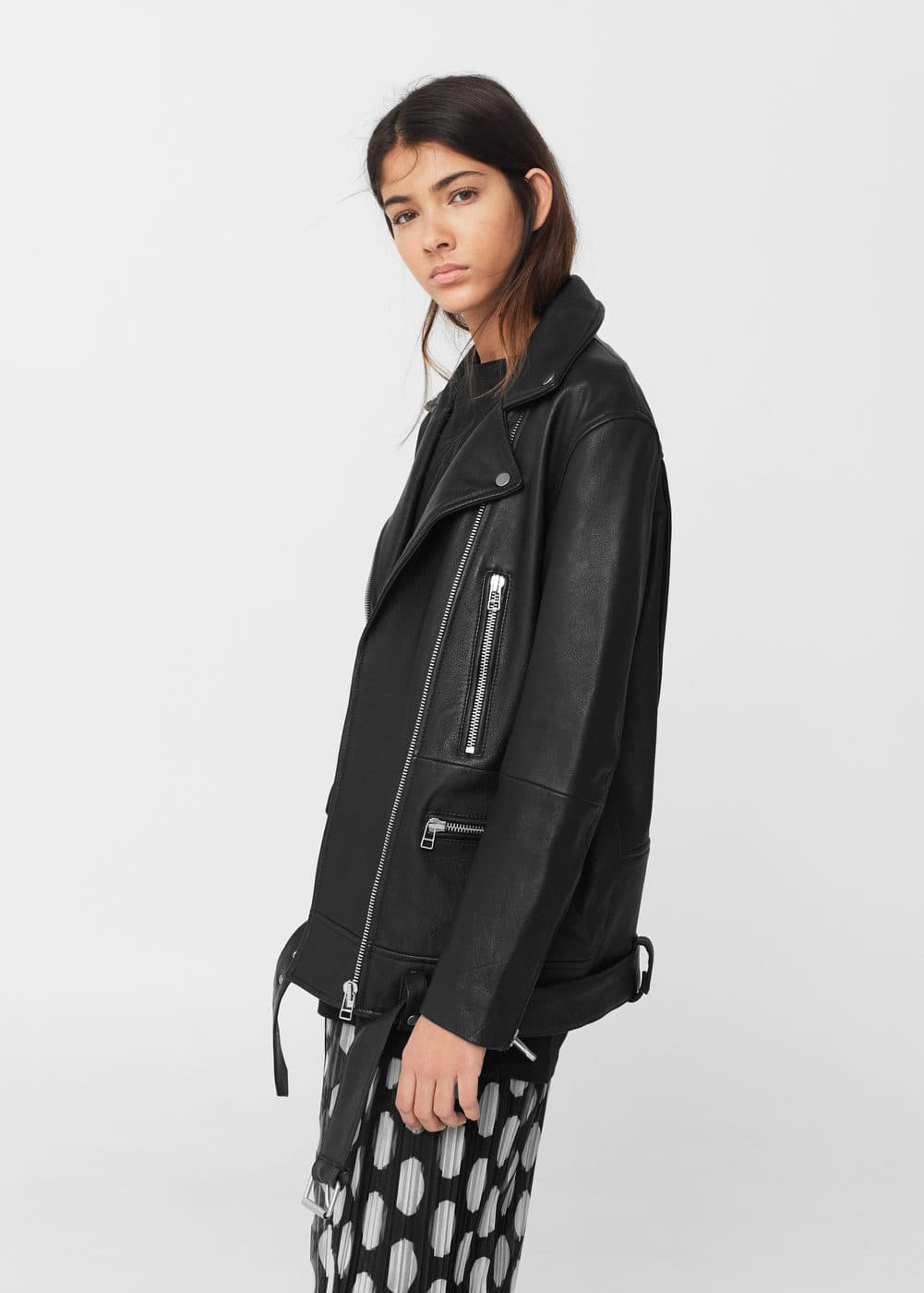 Oversize leather biker | MANGO