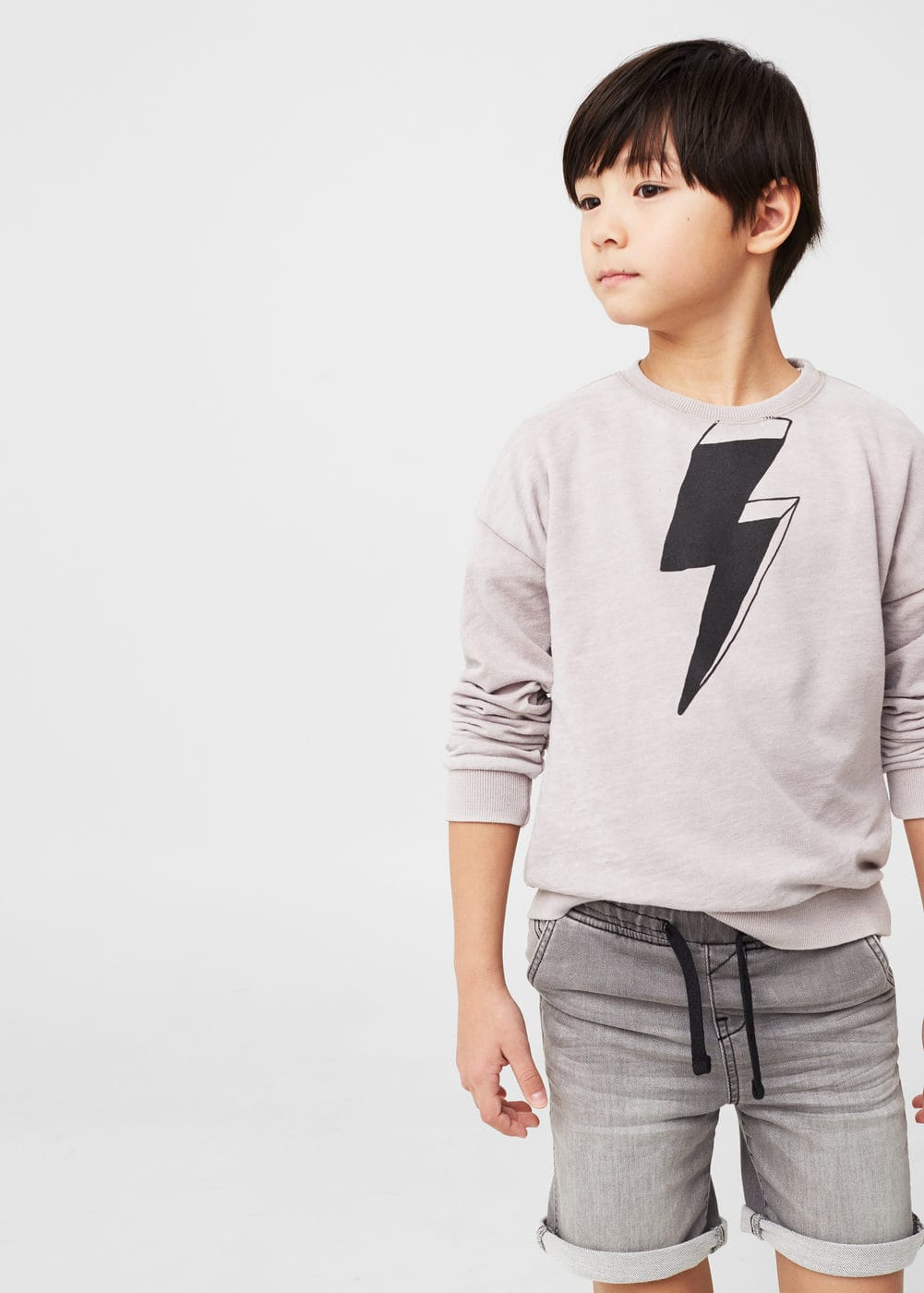Printed plush cotton sweatshirt | MANGO KIDS