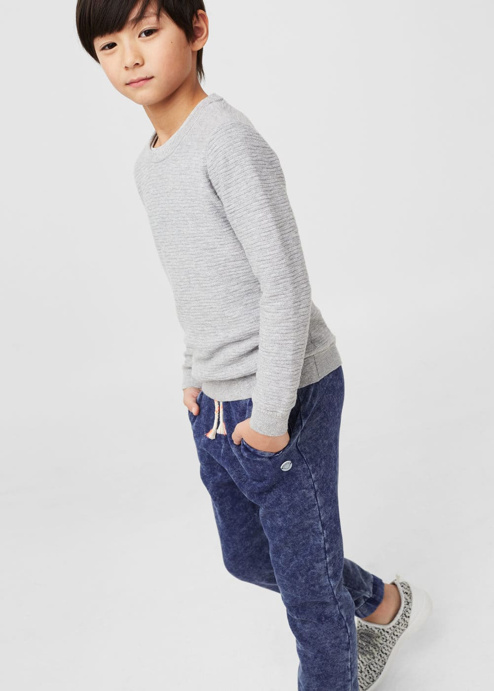 Washed cotton-blend jogging trousers | MANGO KIDS