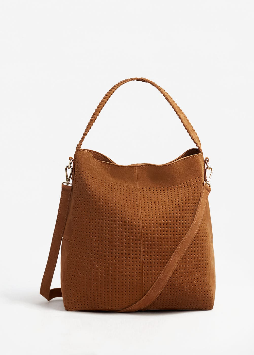Leather laser-cut bag | MANGO