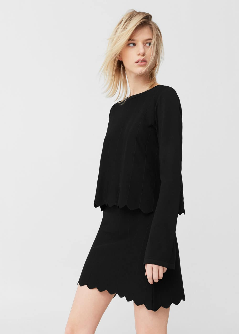 Scalloped hem skirt | MANGO