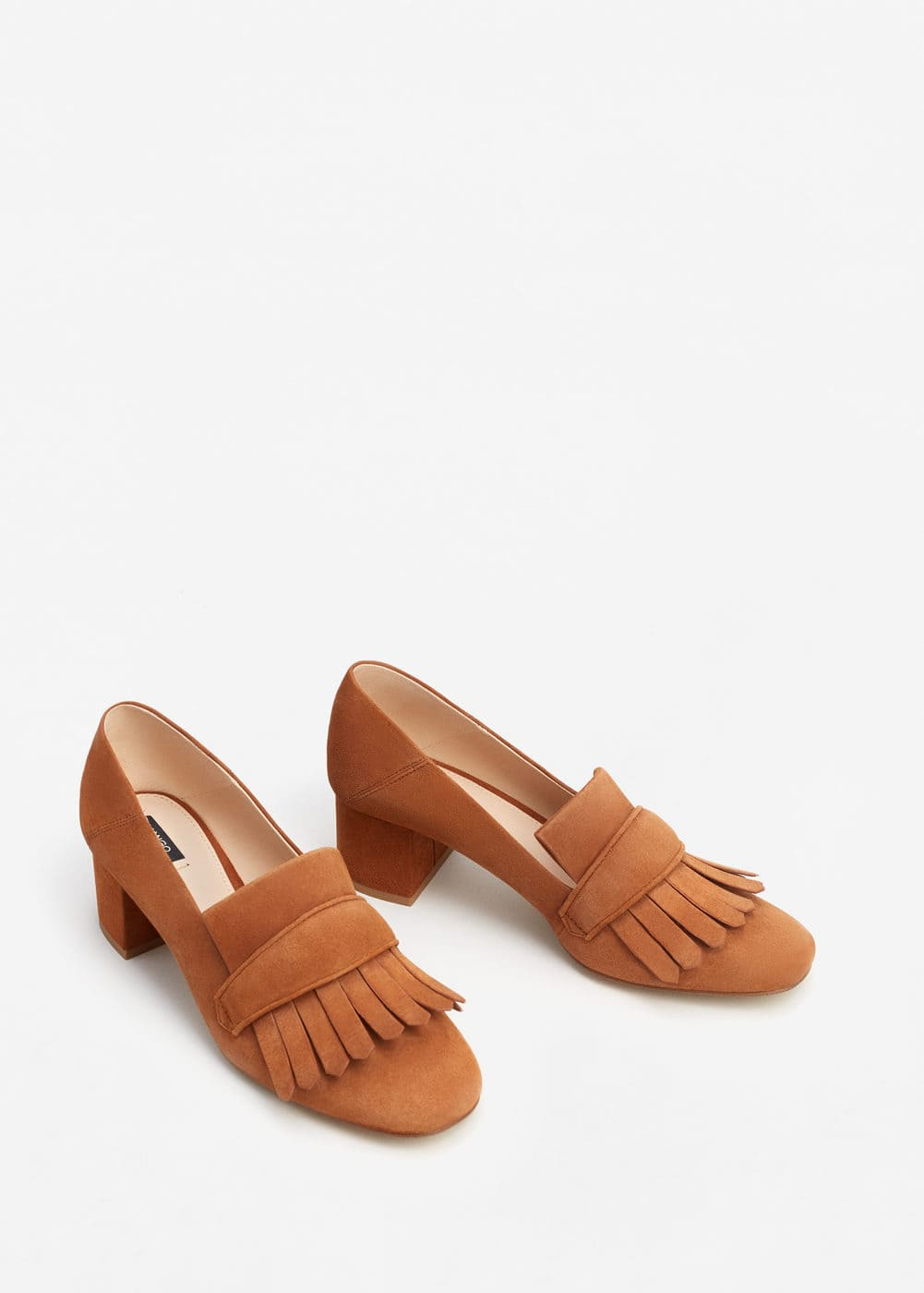 Fringed leather loafers | MANGO