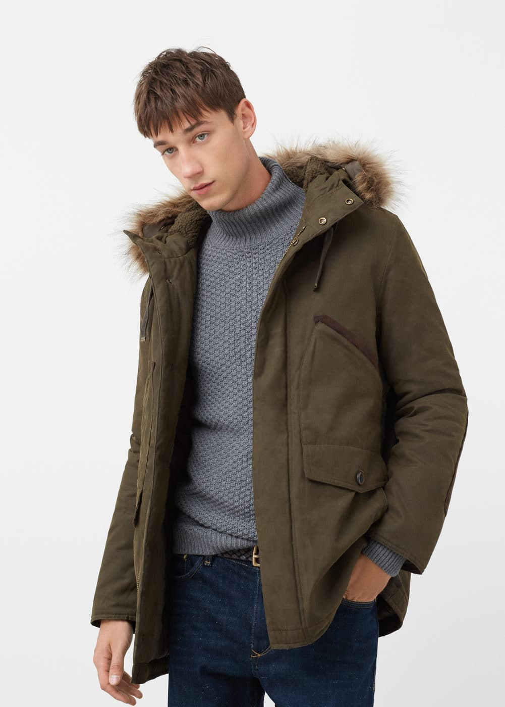 Faux fur appliqué quilted parka | MANGO MAN