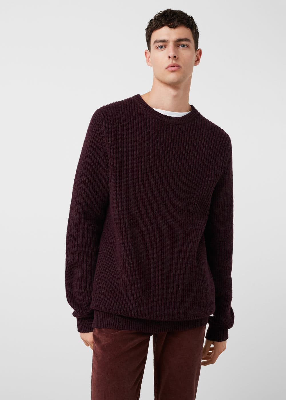 Cotton wool-blend ribbed sweater | MANGO MAN