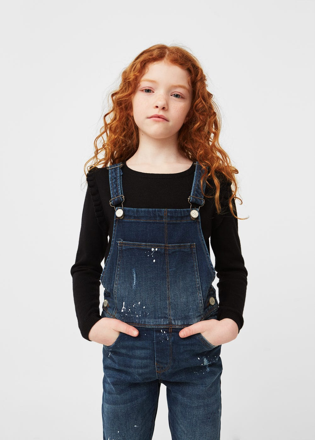 Dark denim dungarees | MANGO KIDS