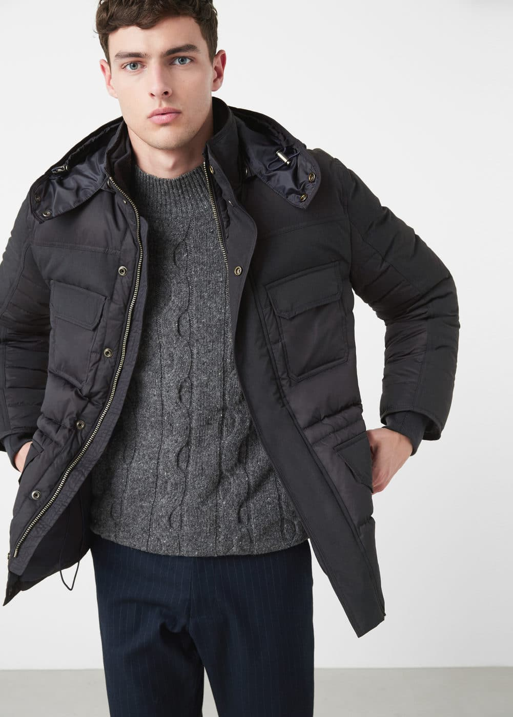 Feather down hooded coat | MANGO MAN