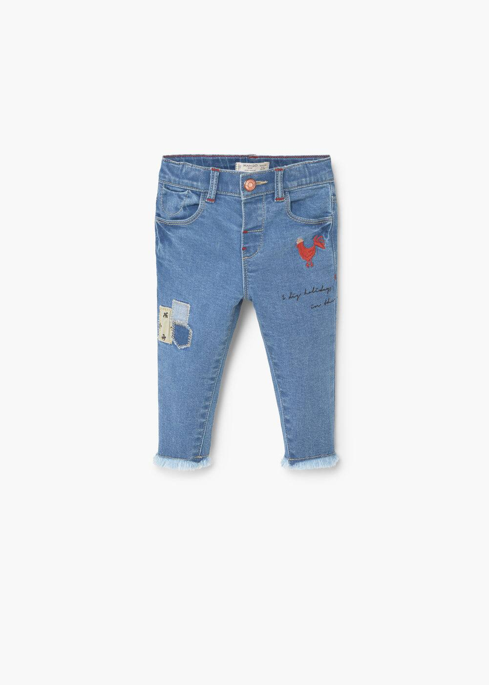 Embroidered patch jeans | MANGO KIDS