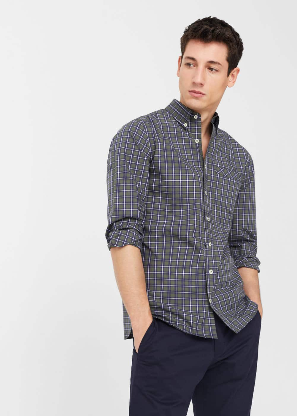 Slim-fit check cotton shirt | MANGO MAN