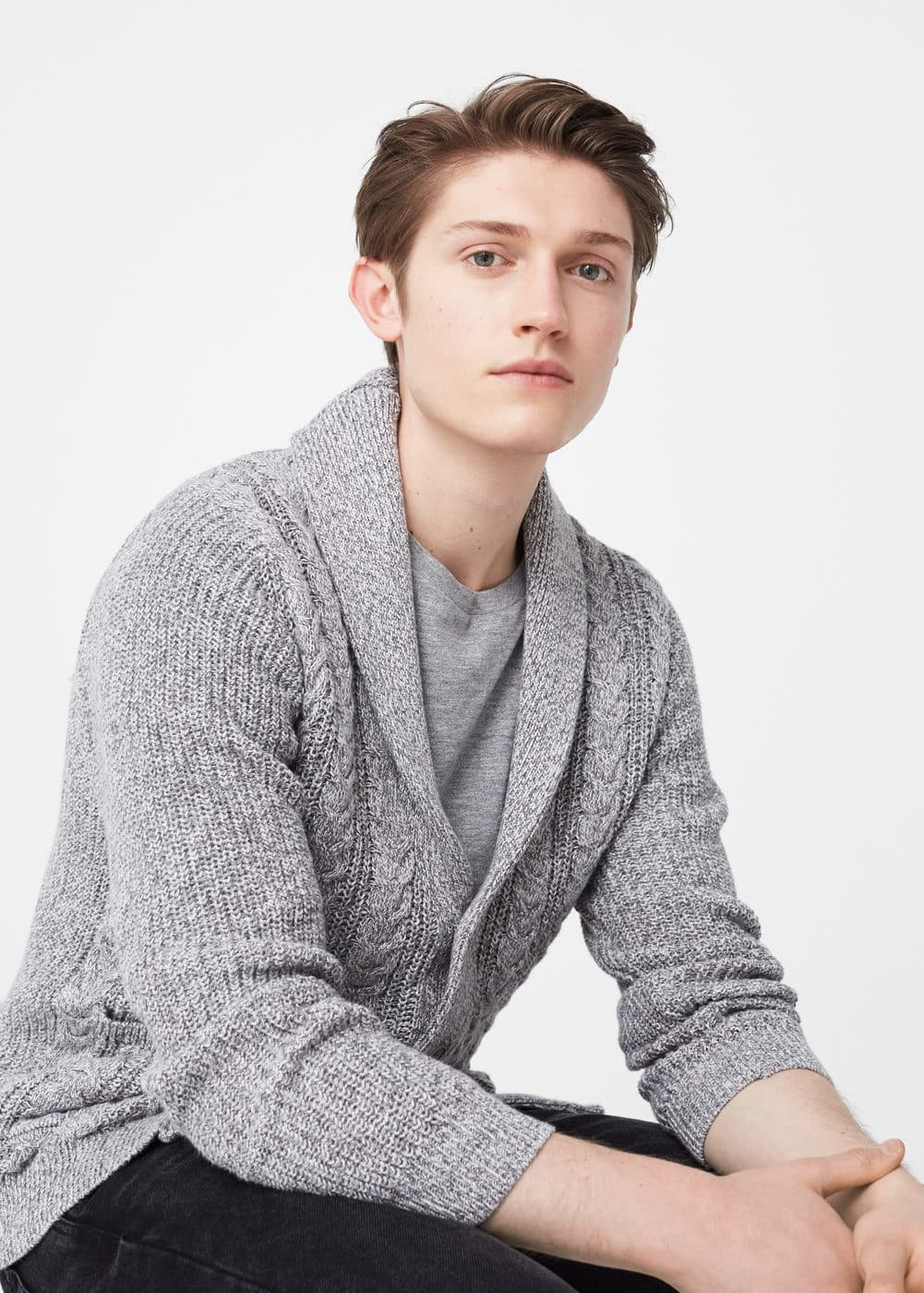 Knitted braided cardigan | MANGO MAN