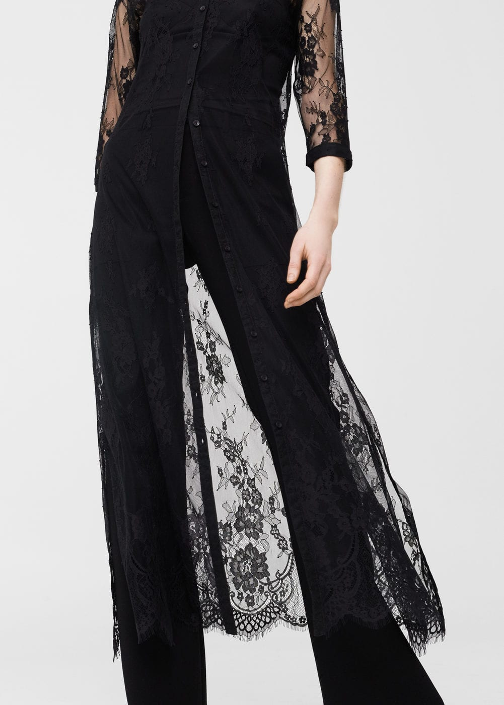 Lace detail gown | MANGO