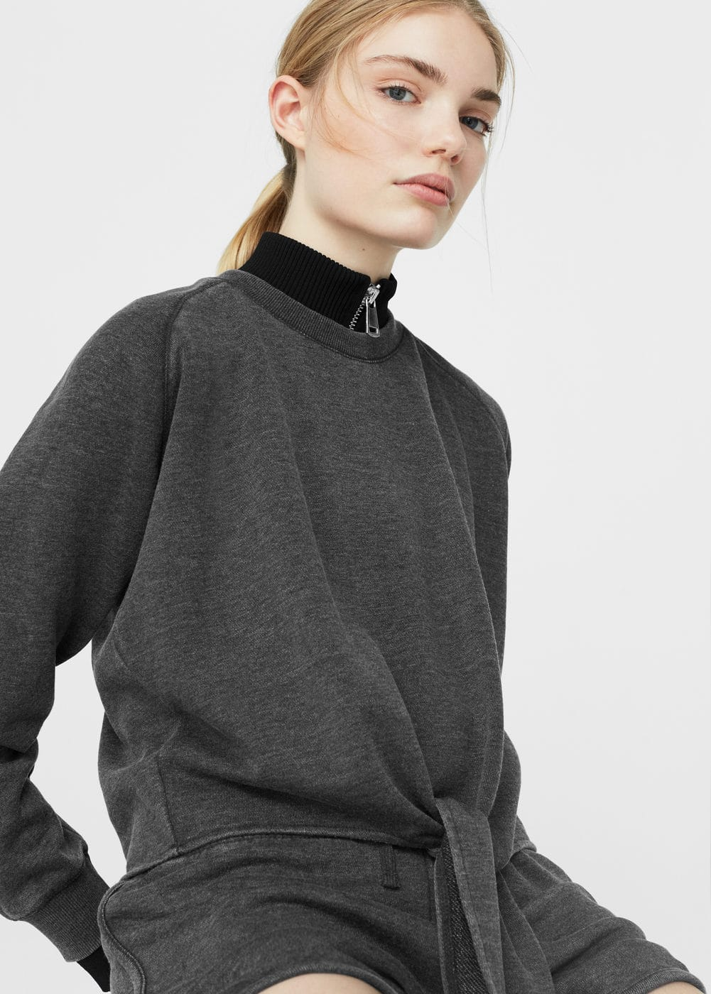 Knotted cotton-blend sweatshirt | MANGO