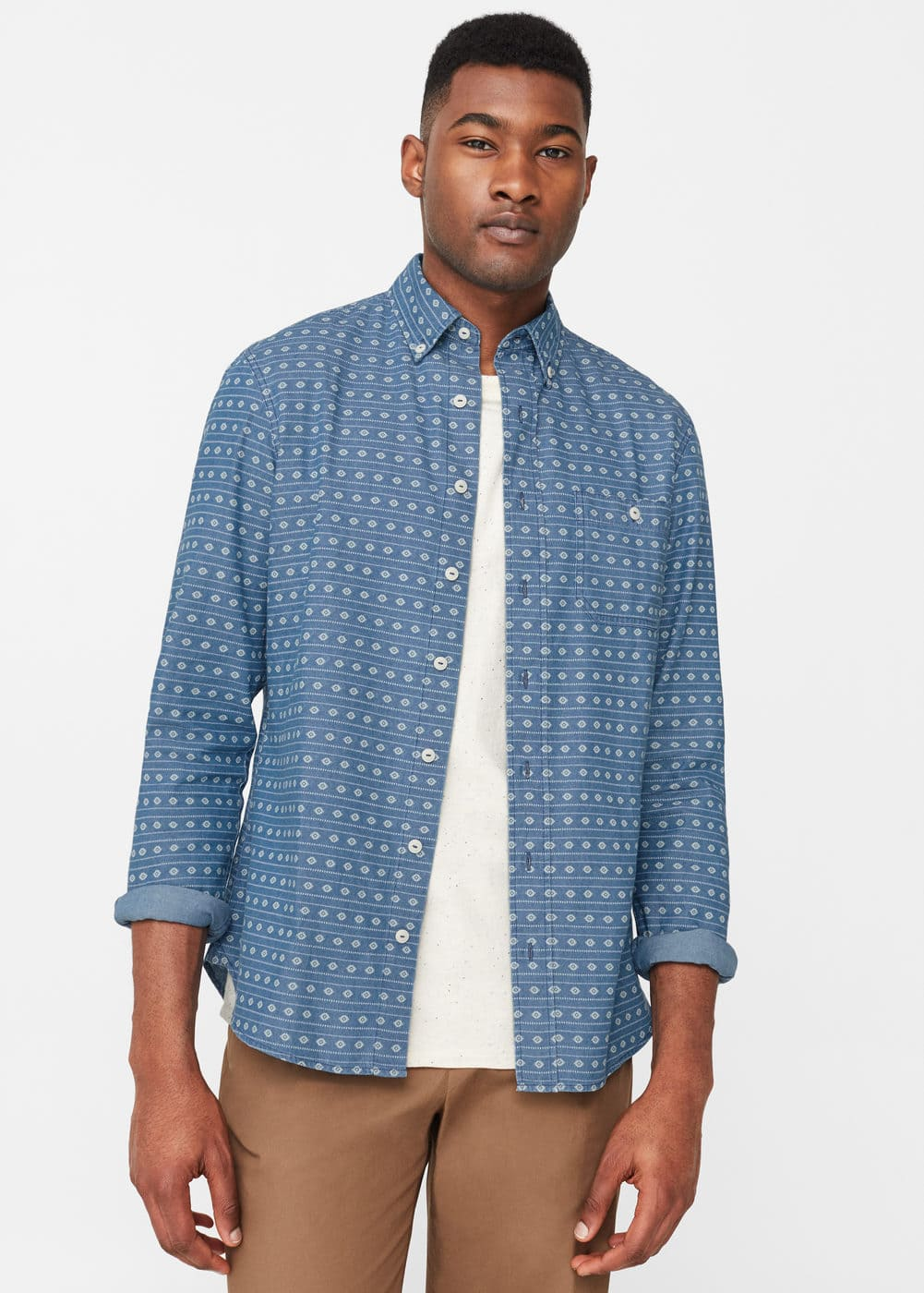 Camisa slim-fit chambray estampada | MNG
