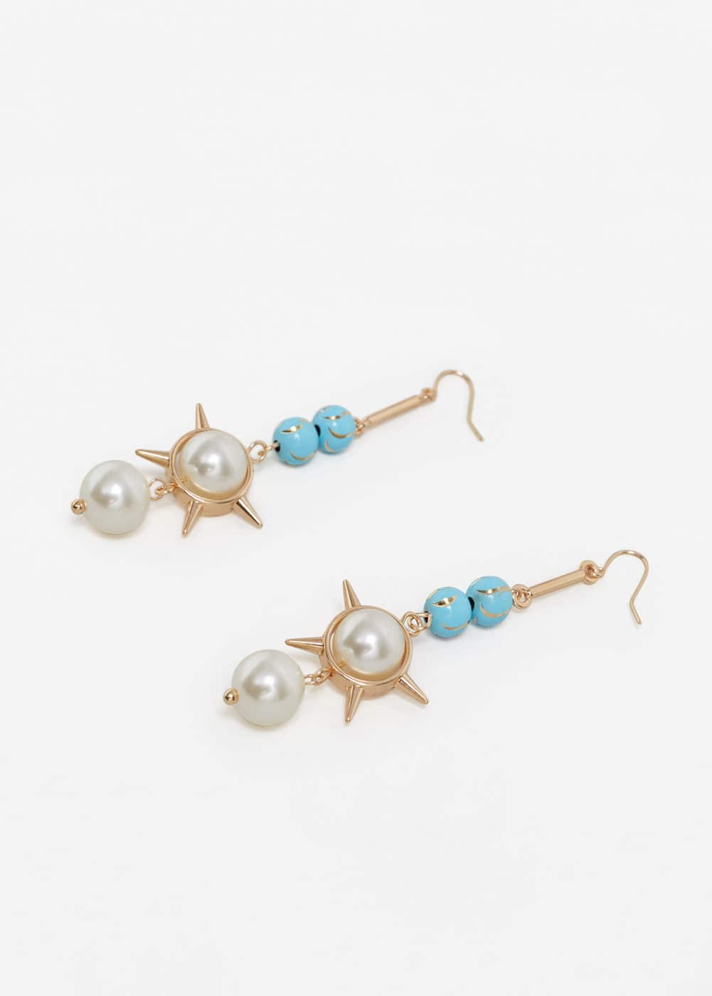 Double pearl earrings | MANGO