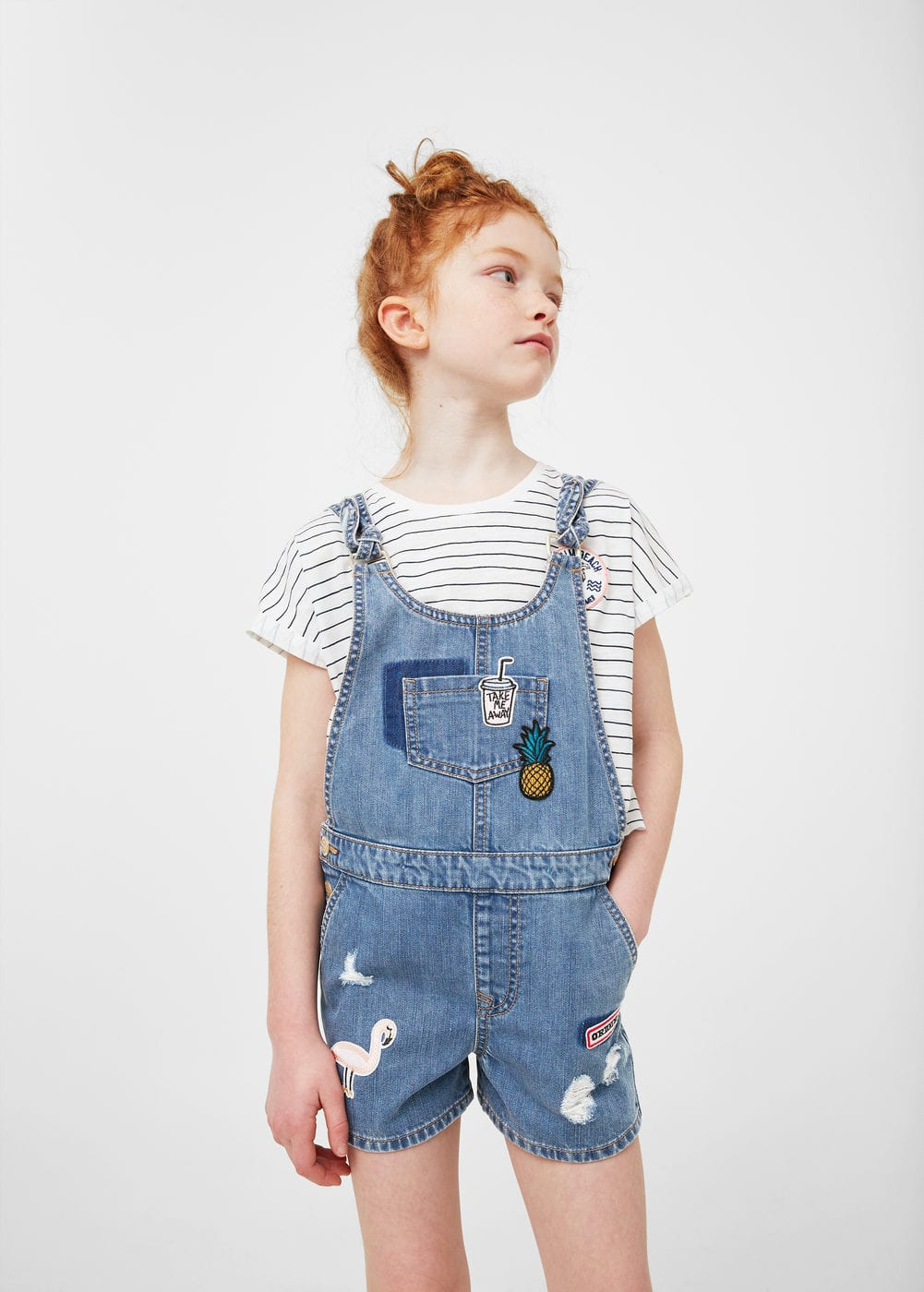 Patches denim jumpsuit | MANGO