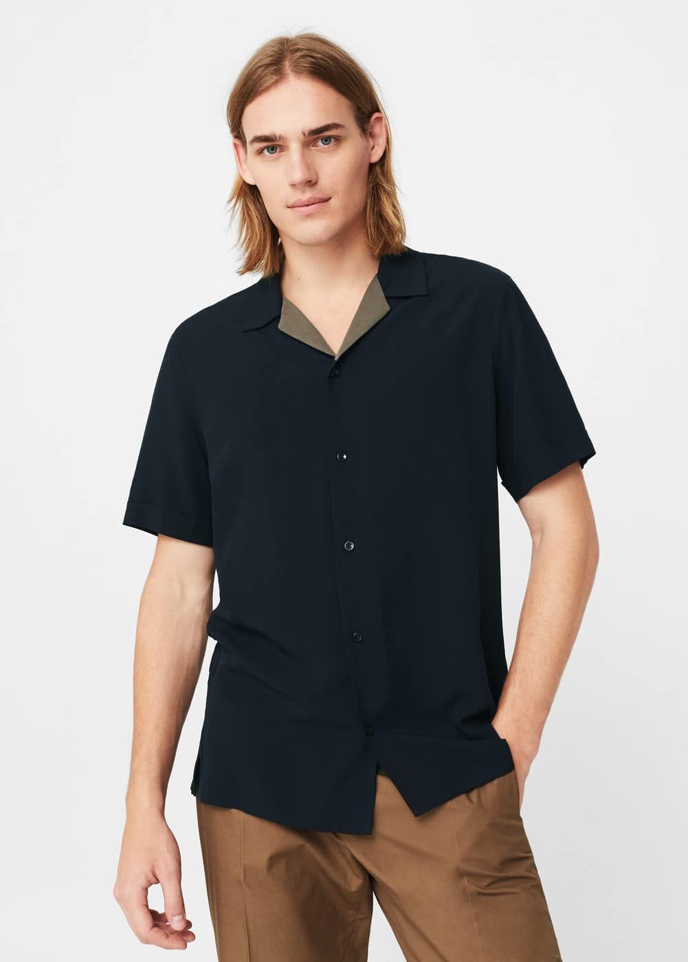 Regular-fit contrast collar shirt | MANGO MAN
