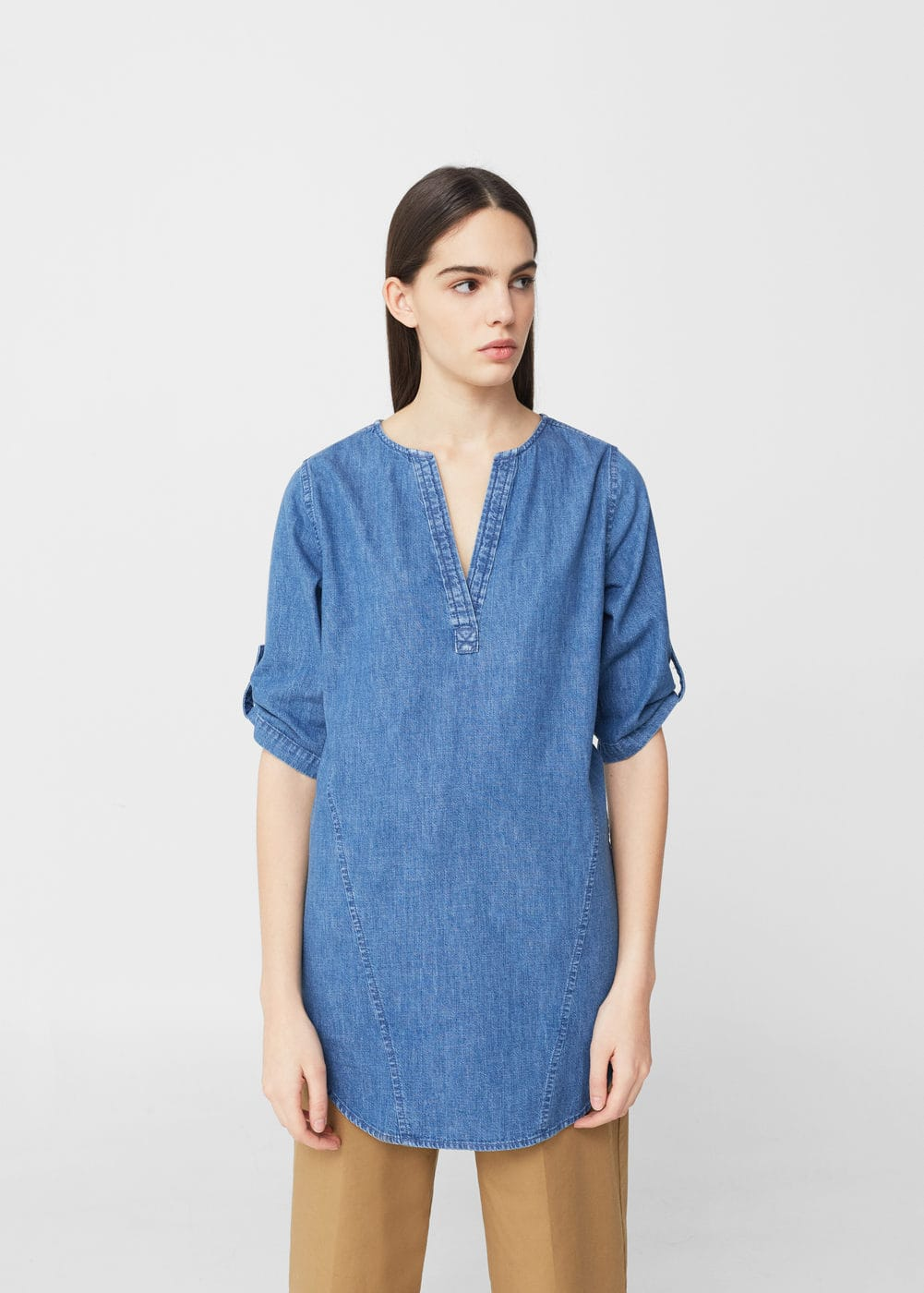 Blusa denim medio | MANGO