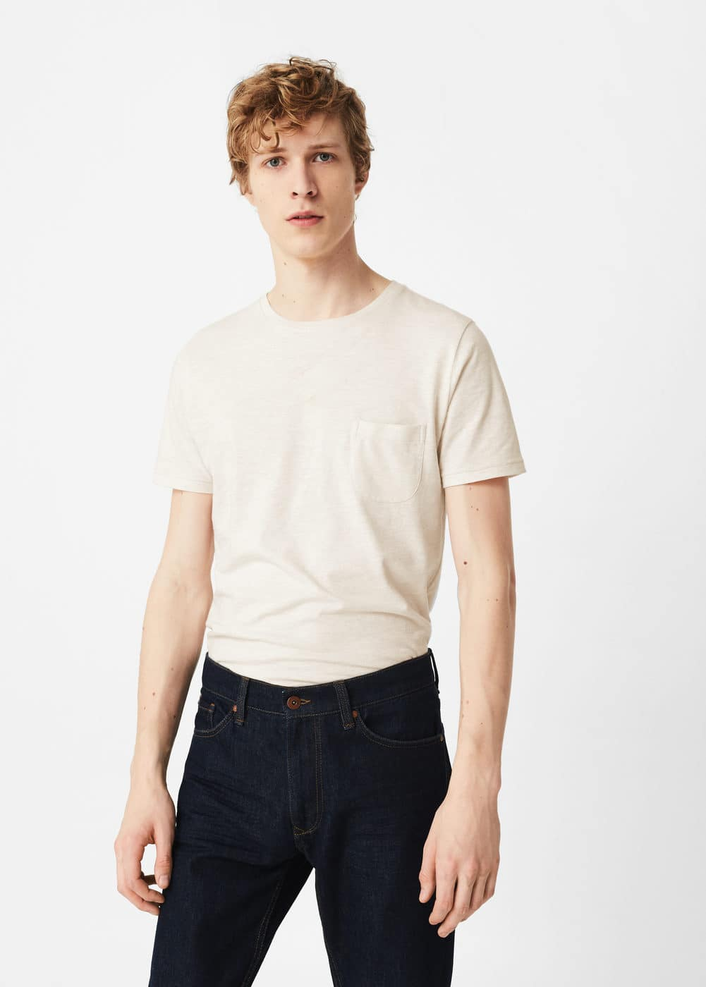 Flecked cotton-blend t-shirt | MANGO MAN