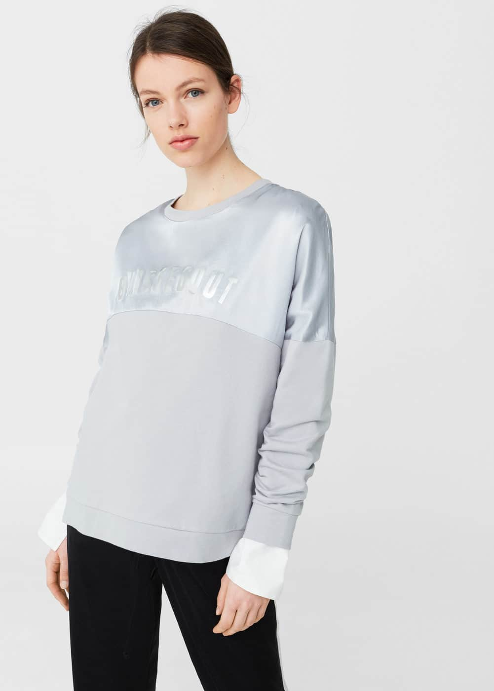 Satin panel sweatshirt | MANGO