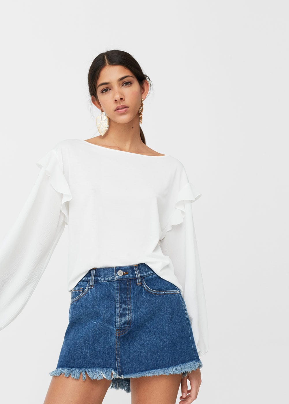 Frayed edges denim skirt | MANGO