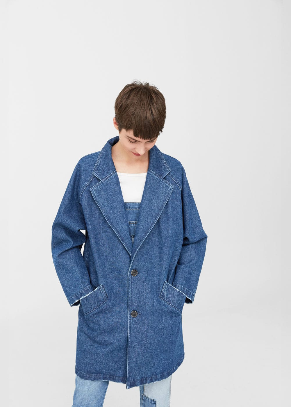 Printed denim trench | MANGO