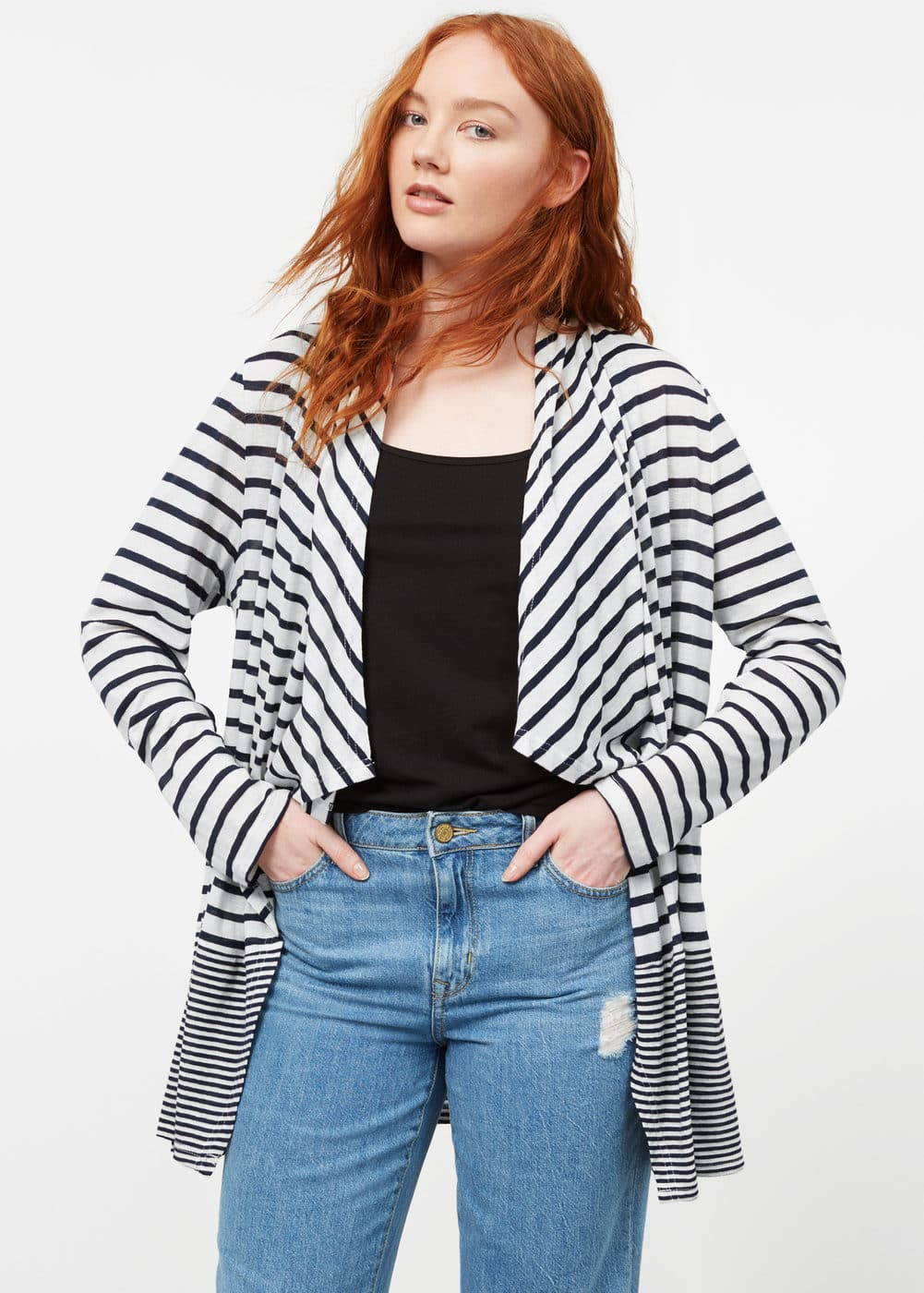 Striped linen cardigan | MANGO