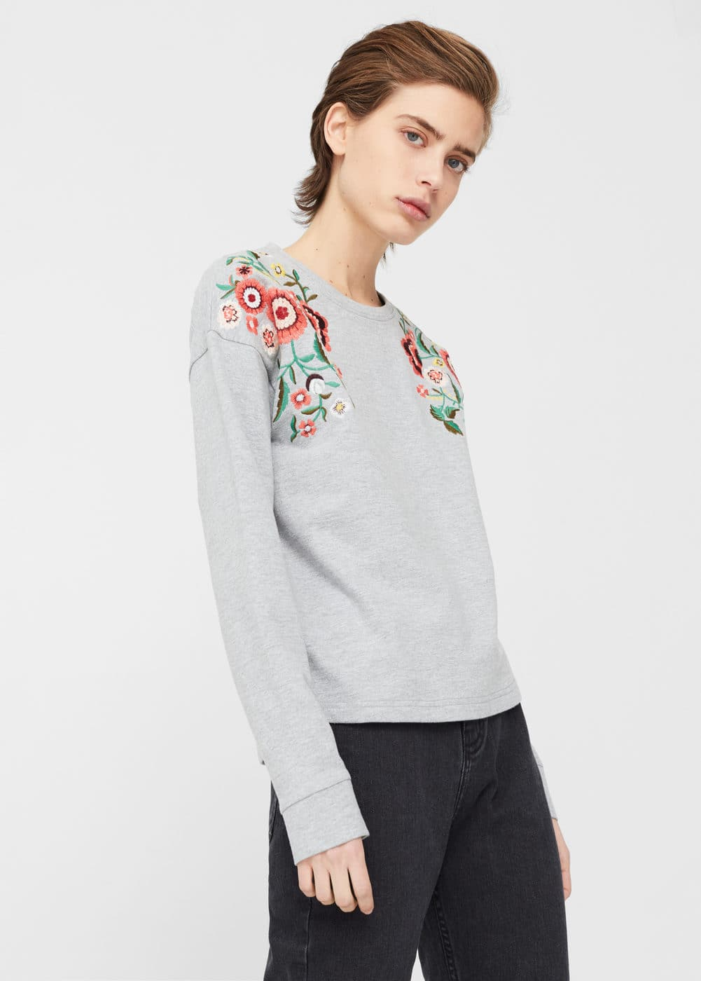 Sweat-shirt broderie florale | MANGO