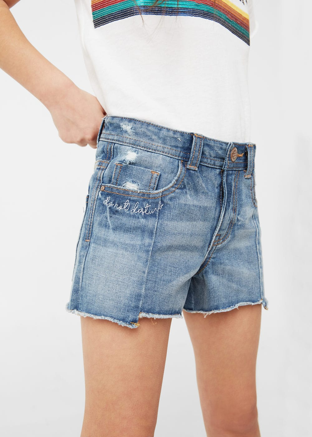 Ripped-detail denim shorts | MANGO KIDS