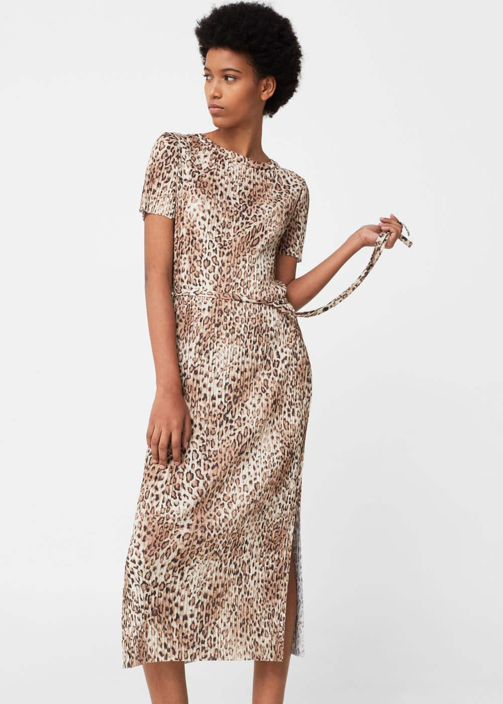 Printed pleated dress | MANGO
