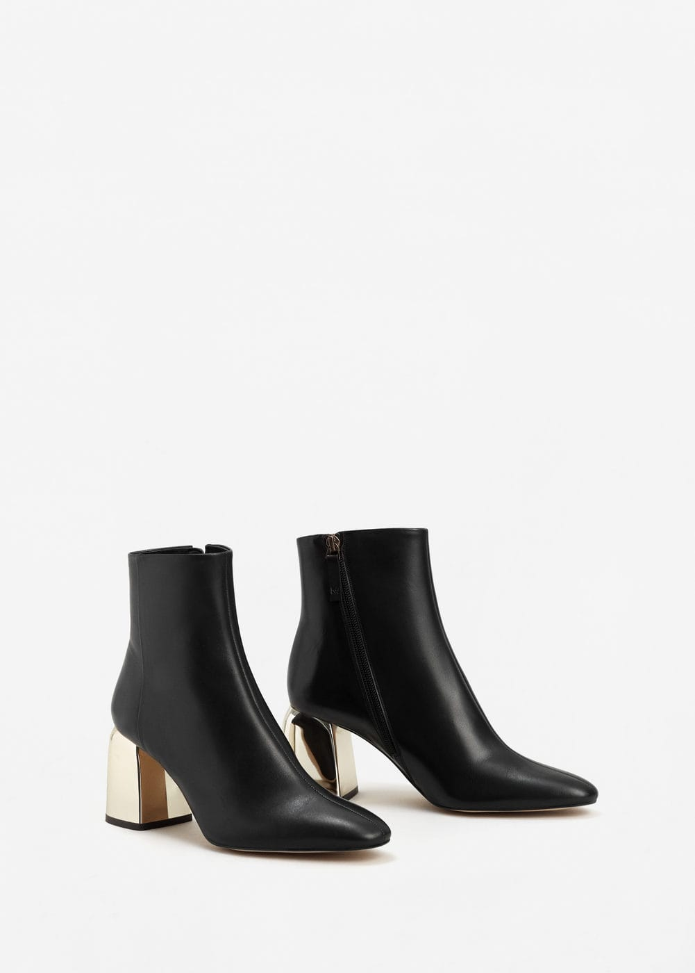 Metallic heel leather ankle boots | MANGO