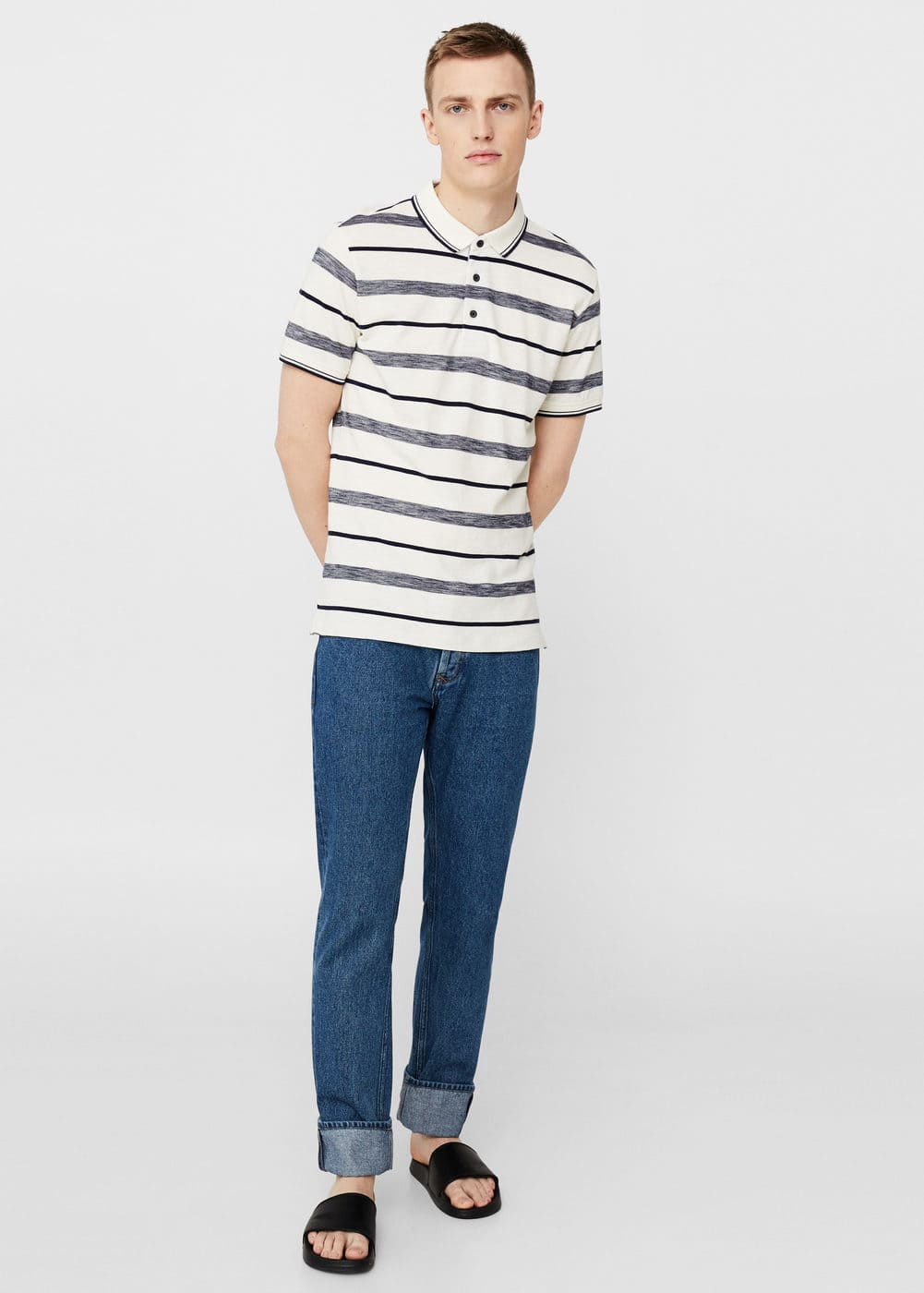 Striped cotton piqué polo shirt | MANGO MAN