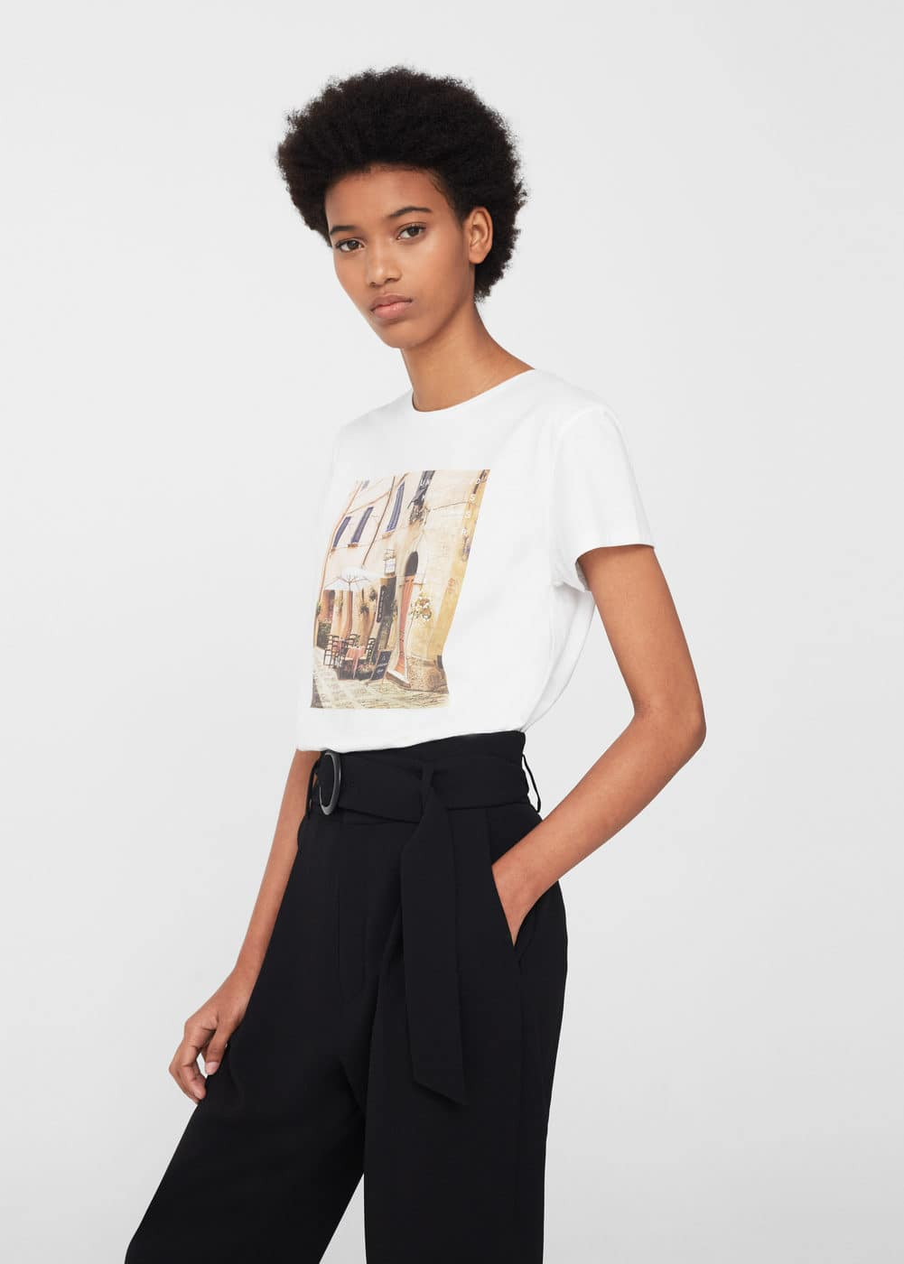 Printed cotton-blend t-shirt | MANGO