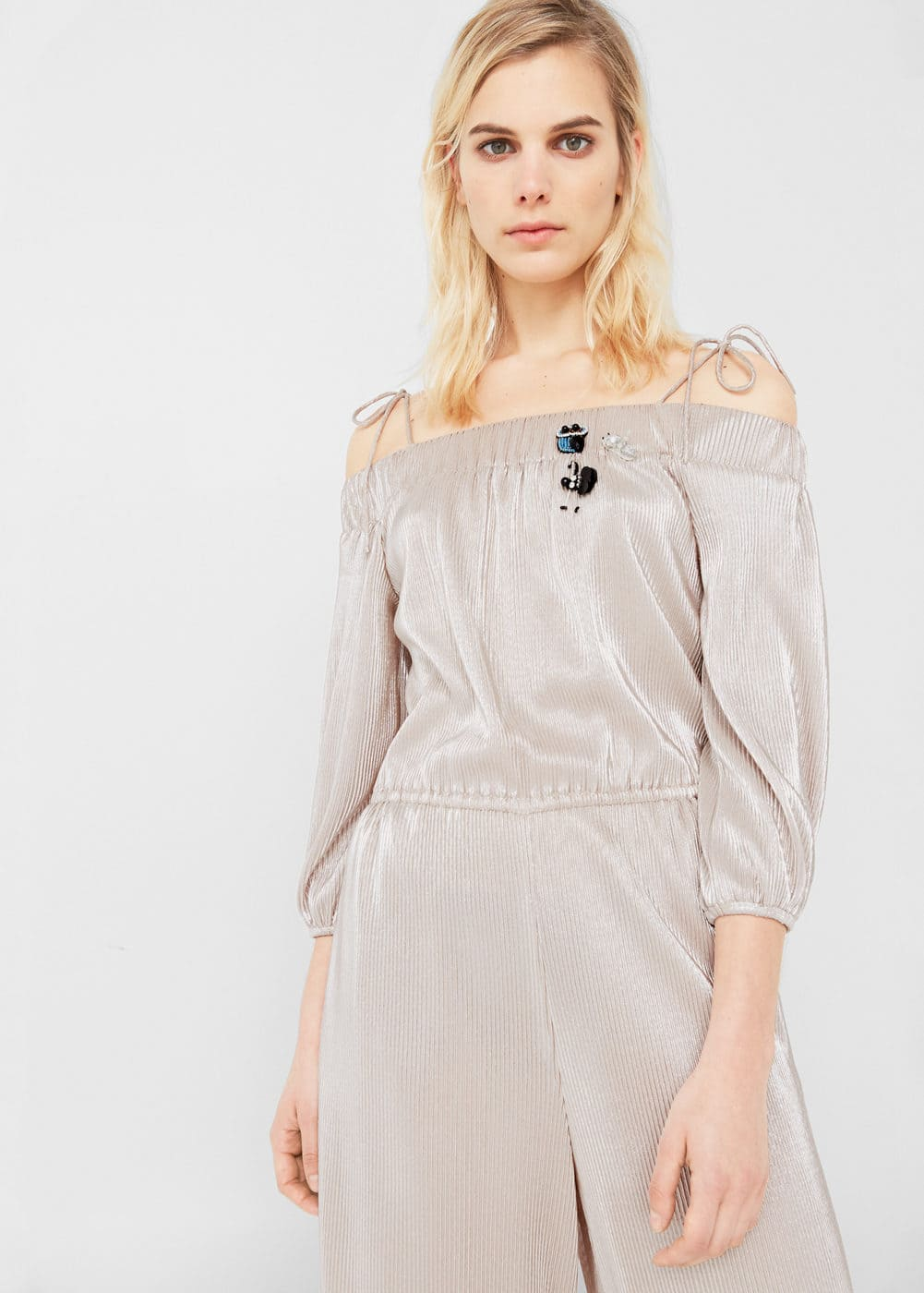 Metallic off-shoulder jumpsuit | MNG