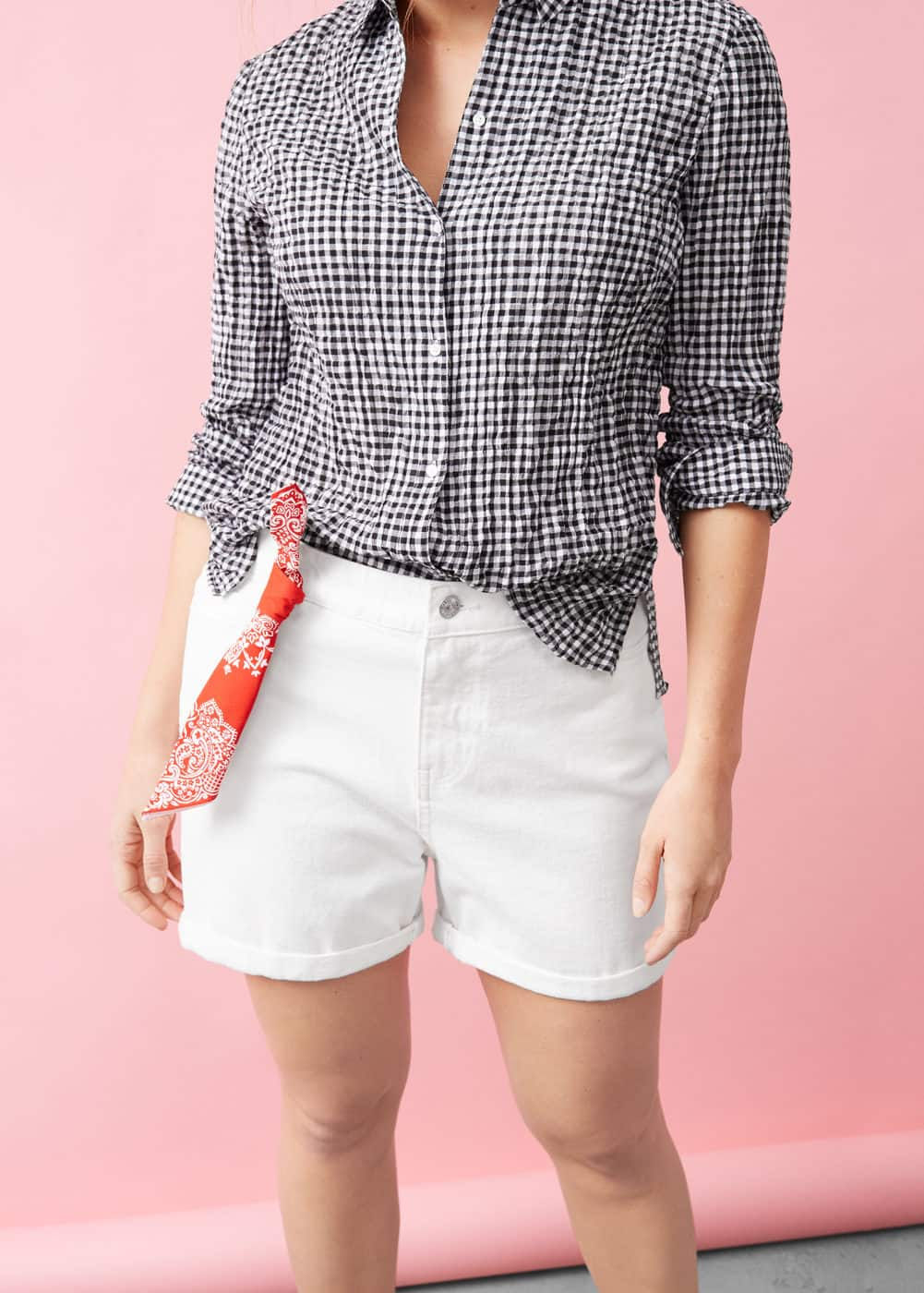 White denim shorts | VIOLETA BY MNG