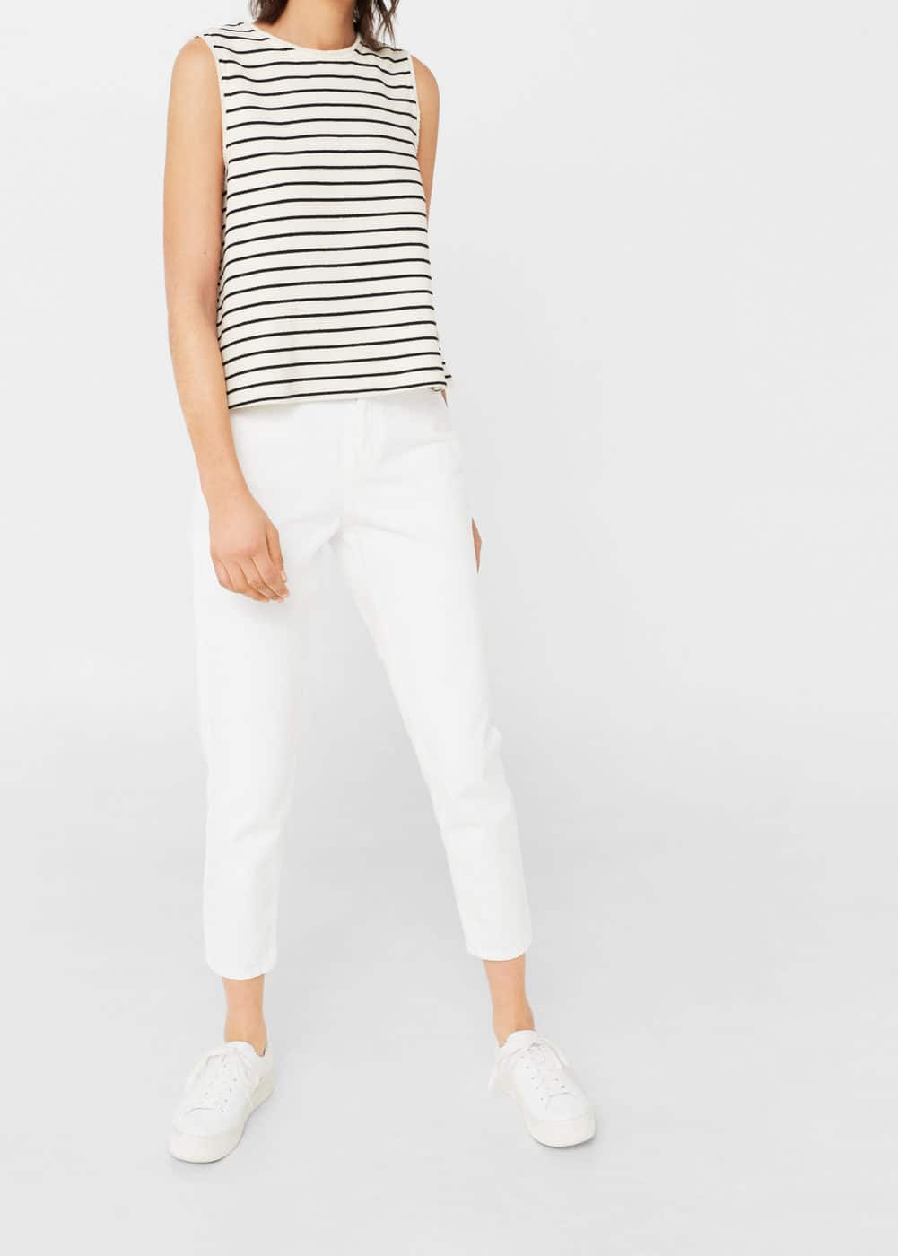 Striped cotton-blend top | MANGO