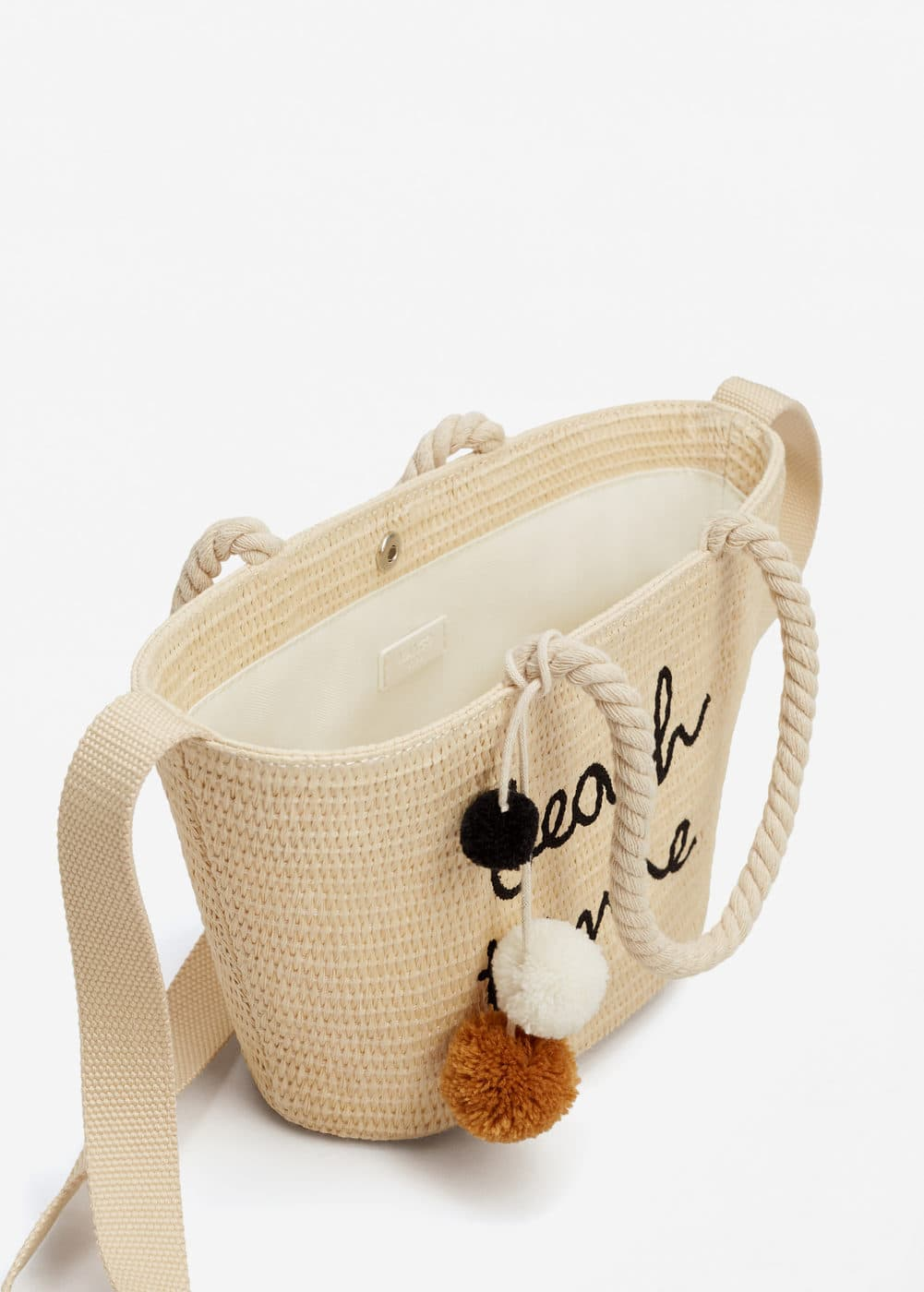 Message straw basket bag | MANGO