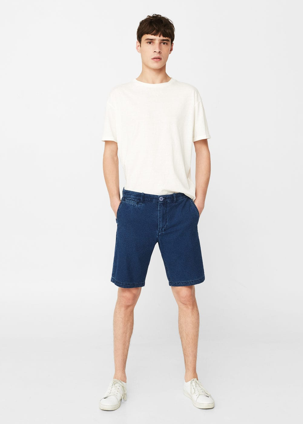 Striped chambray bermuda shorts | MANGO MAN