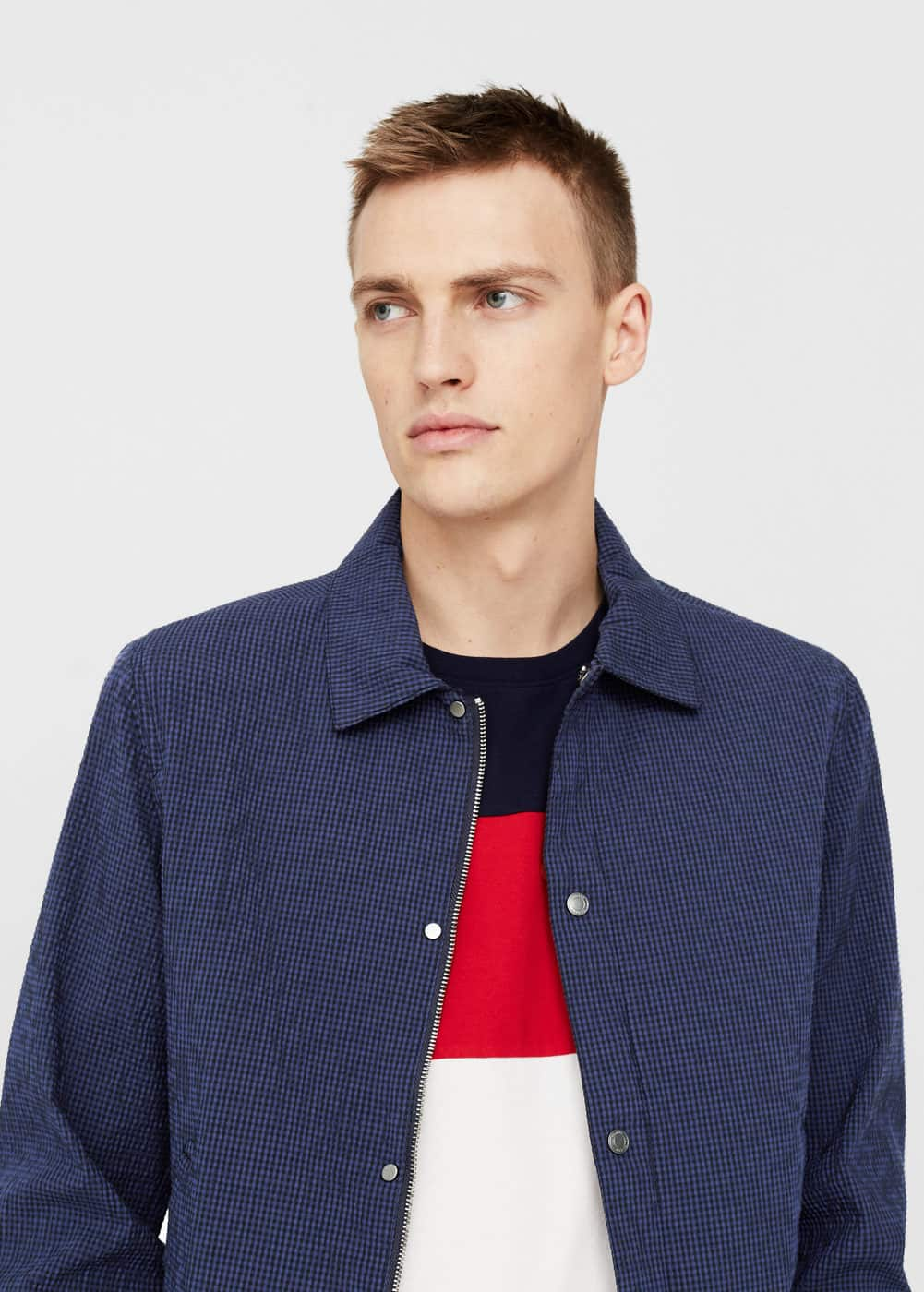 Cotton seersucker jacket | MANGO
