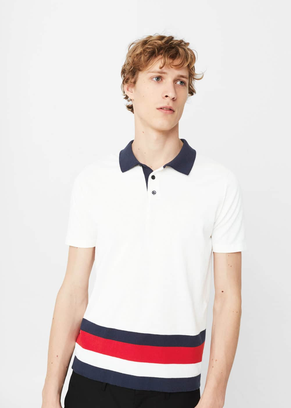 Striped cotton polo shirt | MANGO