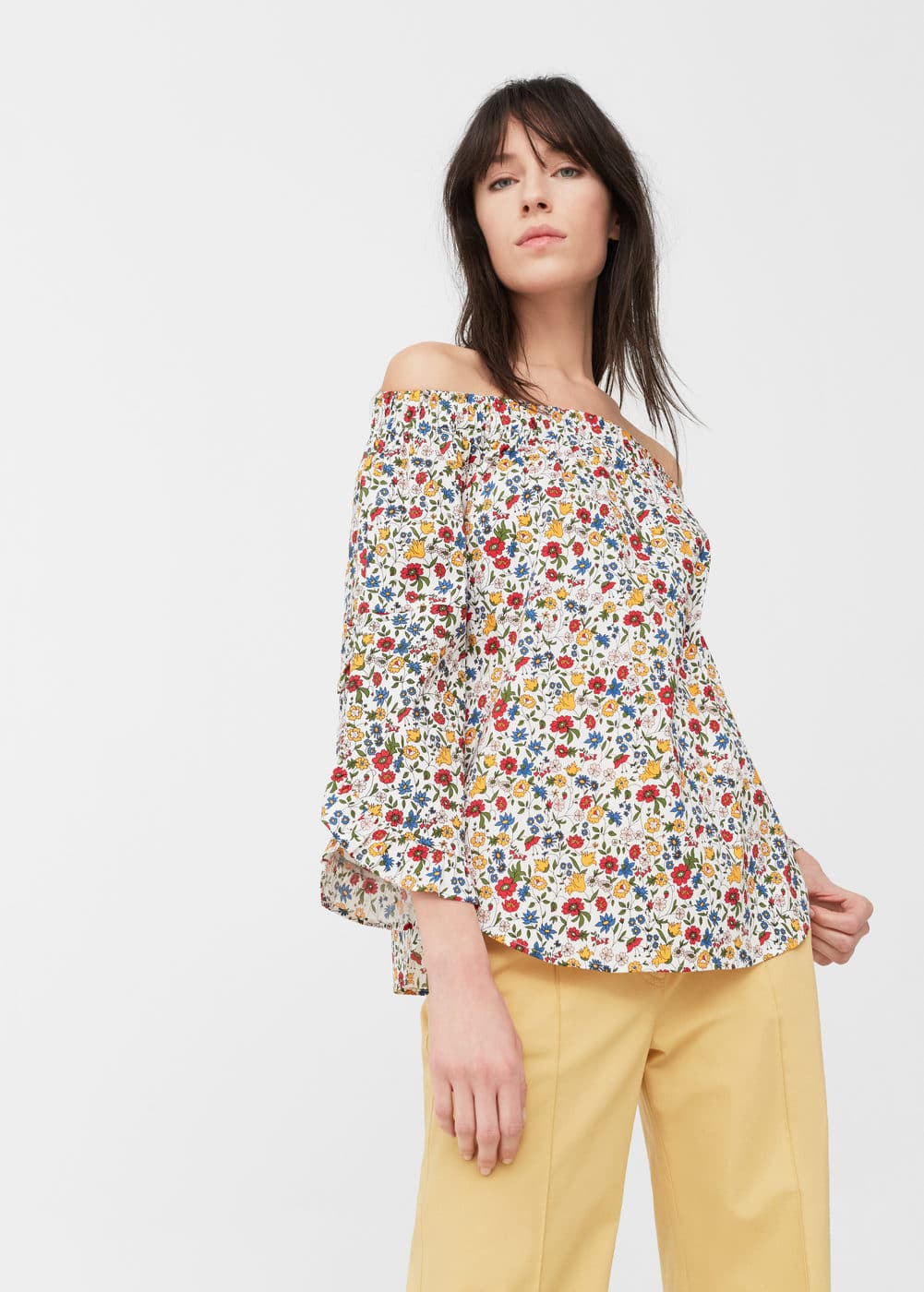 Off-shoulder poplin blouse | MANGO