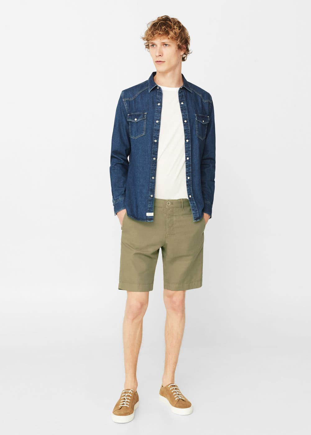 Linen-cotton blend bermuda short | MANGO