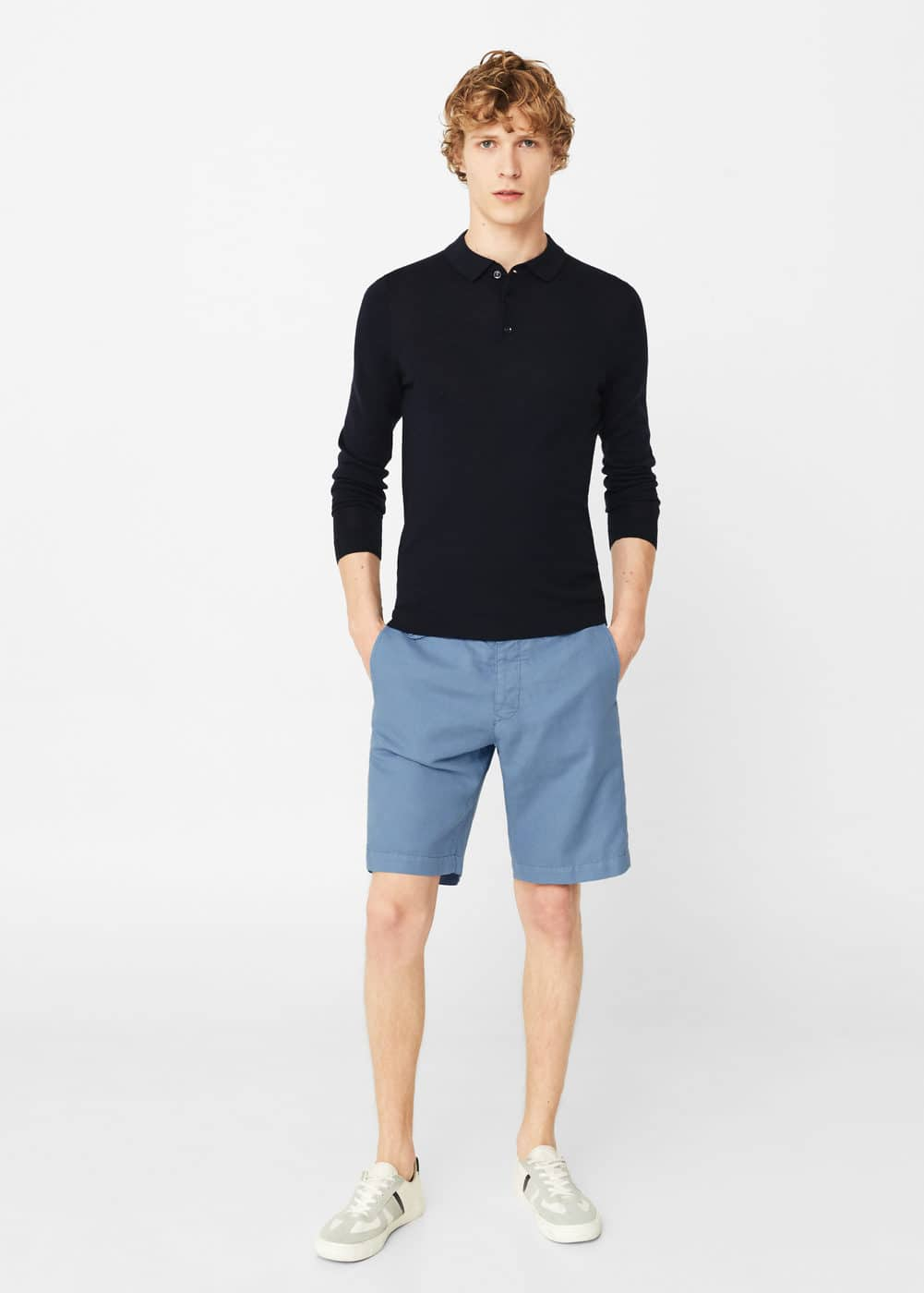 Linen-cotton blend bermuda short | MANGO MAN