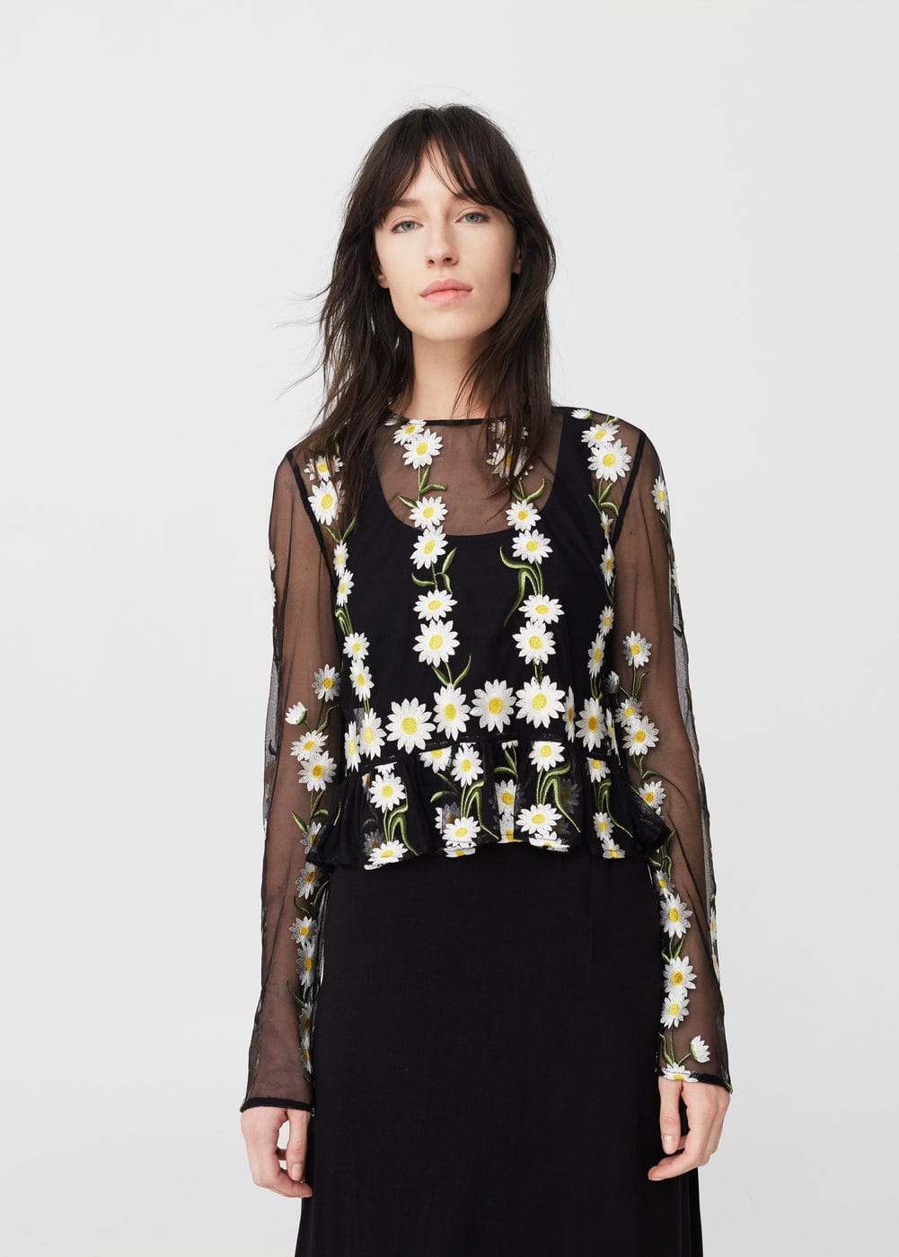 Floral embroidered top | MANGO