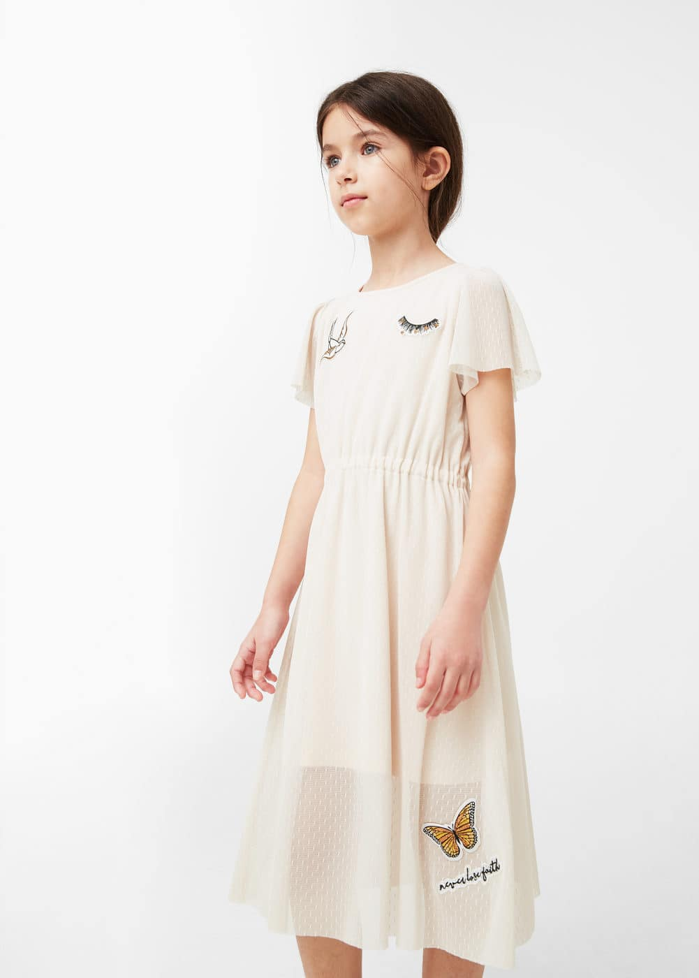 Patched tulle dress | MANGO