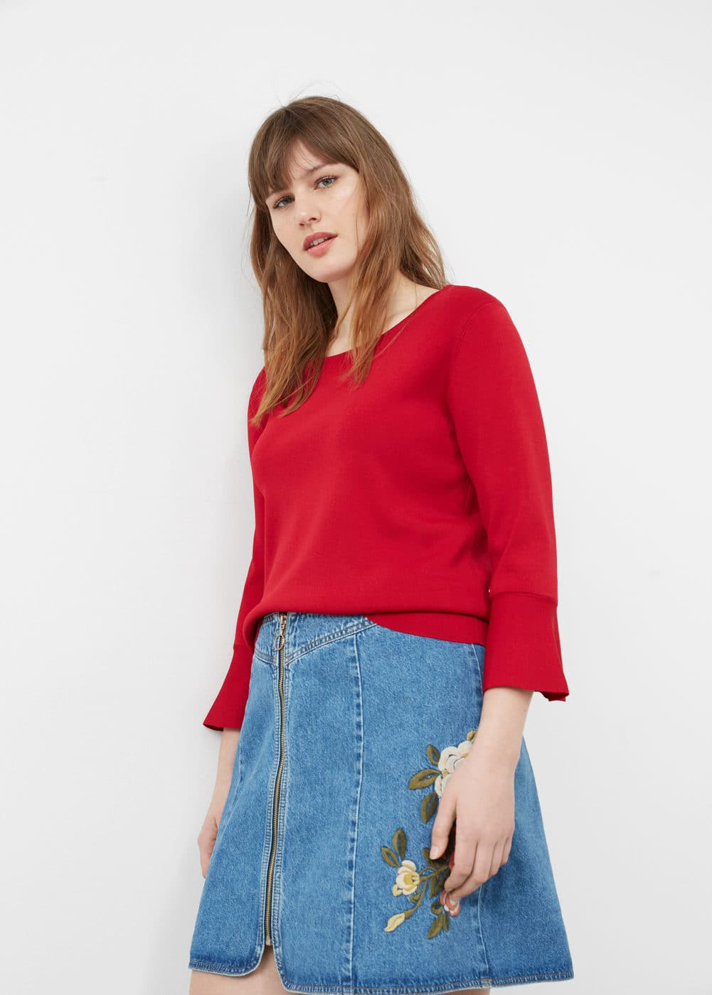 Embroidered denim skirt | VIOLETA BY MANGO