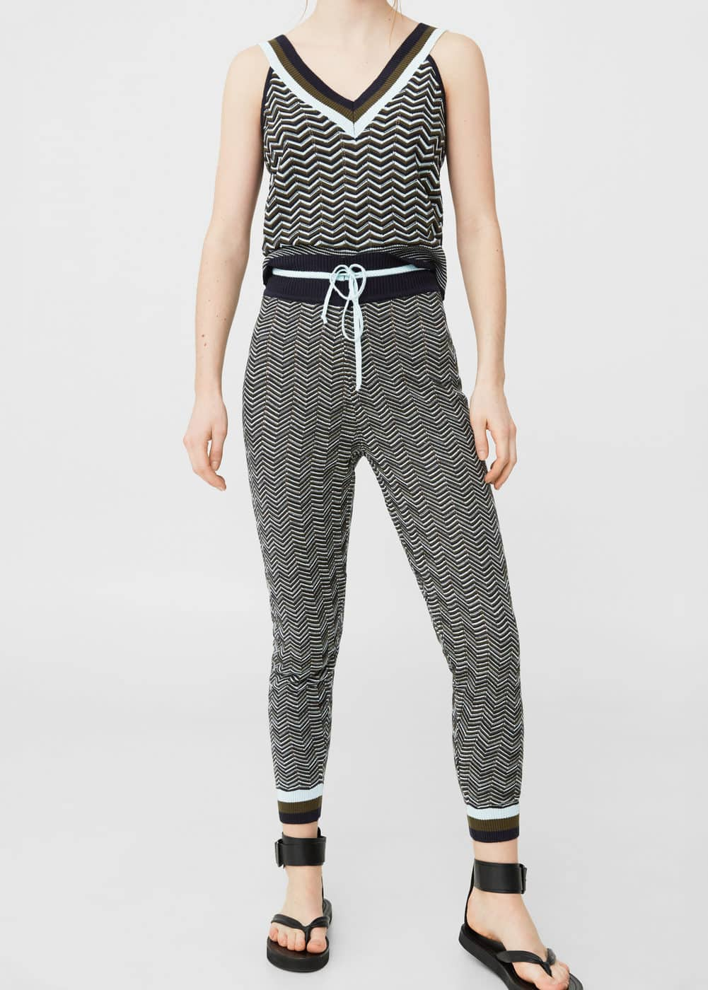 Metallic thread jogging trousers | MANGO