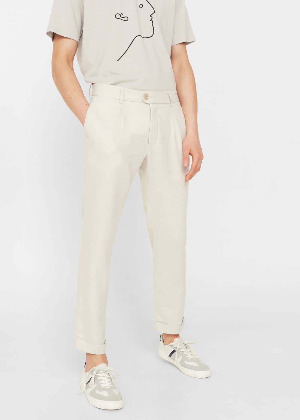 Pocket linen-blend trousers | MANGO